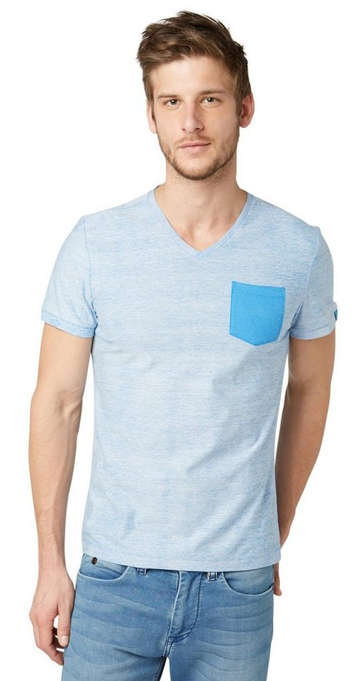 TOM TAILOR T-Shirt »T-Shirt mit farbiger Brusttasche« in even blue