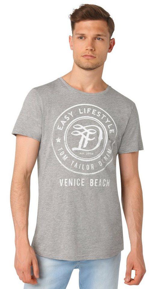 TOM TAILOR DENIM T-Shirt »T-Shirt mit rundem Logo-Print« in melange