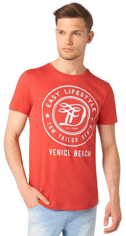 TOM TAILOR DENIM T-Shirt »T-Shirt mit rundem Logo-Print« in baked apple red