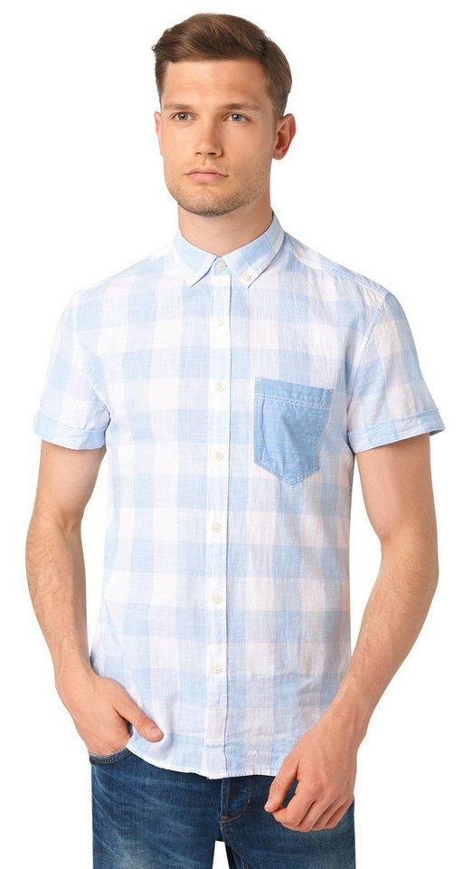 TOM TAILOR DENIM Hemd »kariertes Button-Down-Hemd« in light blue