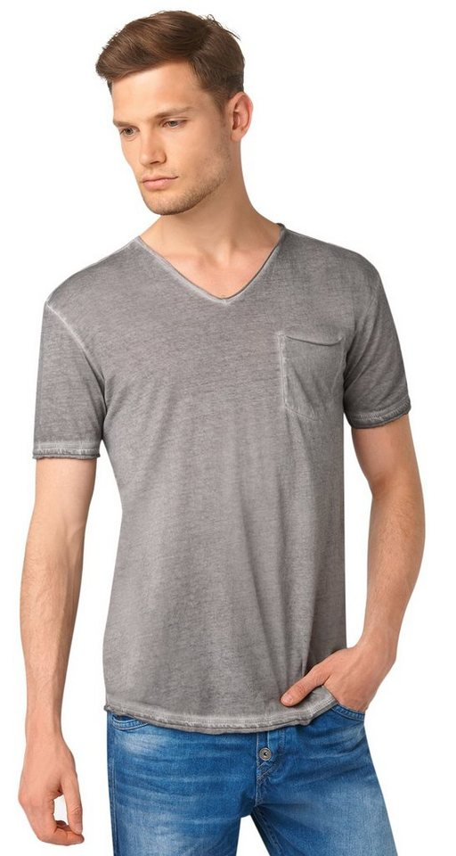 TOM TAILOR DENIM T-Shirt »cold pigment dyed v-neck« in steel grey