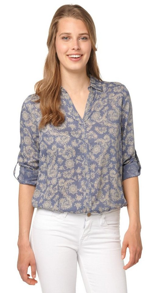 TOM TAILOR Bluse »feminine Bluse mit Muster« in steal blue
