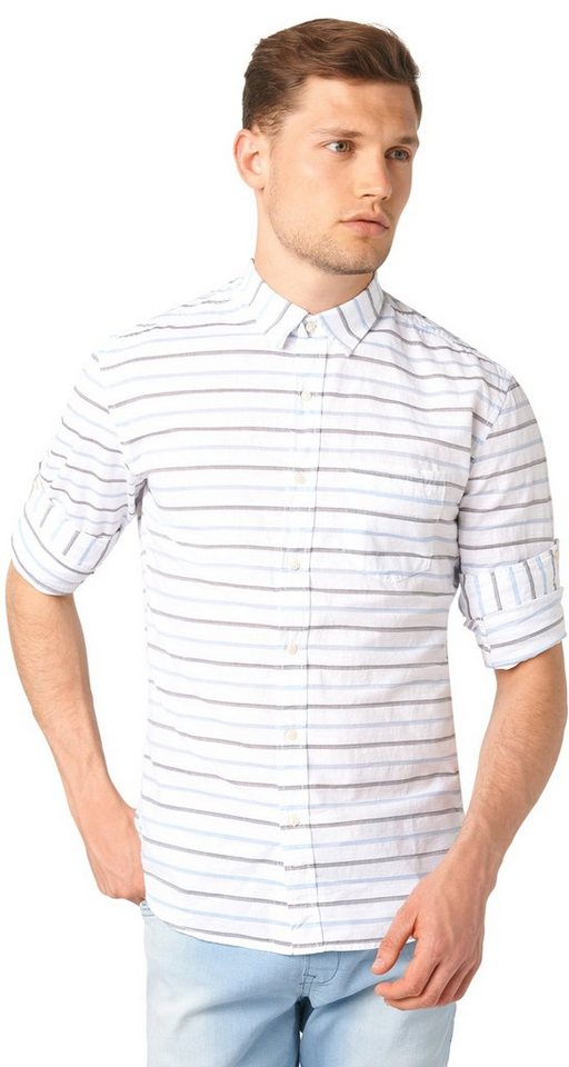 TOM TAILOR DENIM Hemd »horizontal stripe« in light blue