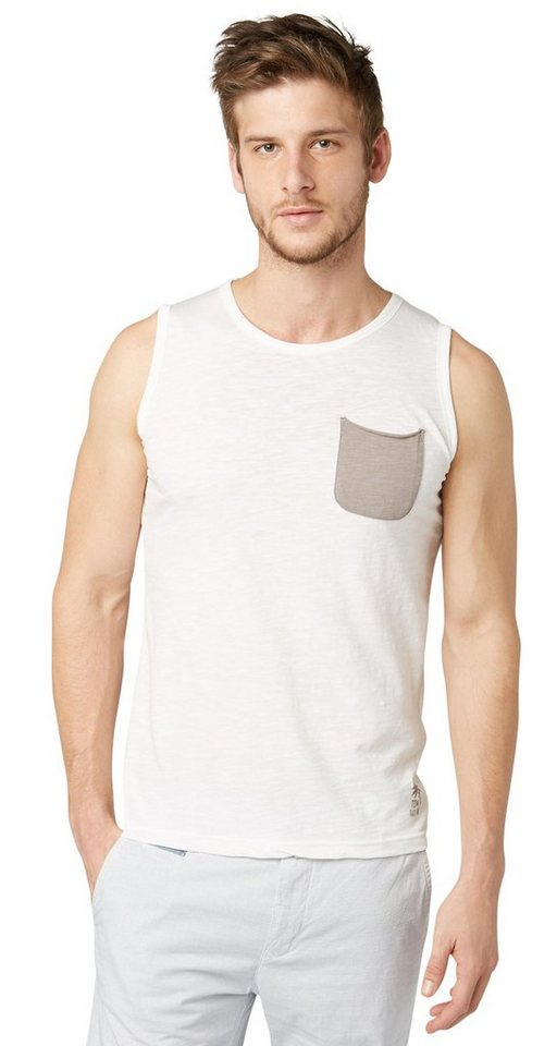 TOM TAILOR T-Shirt »tank top« in off white
