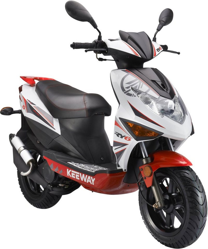 Keeway Mofaroller, 50 ccm, 25 km/h, »RY6 Racing« in weiß-rot-schwarz