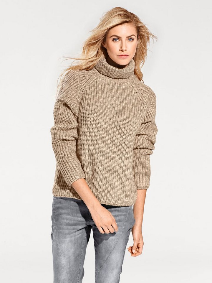 Grobstrickpullover in taupe
