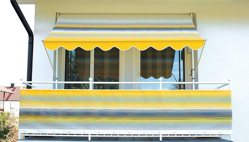Klemmmarkise, gelb-grau gestreift in gelb