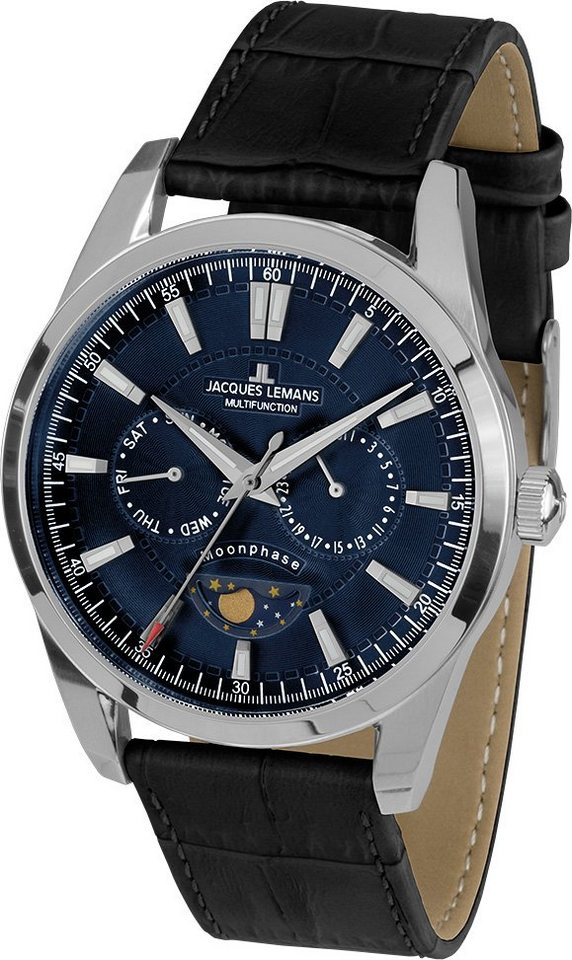 Jacques Lemans Sports Multifunktionsuhr, »Liverpool Moonphase, 1-1901B« in schwarz