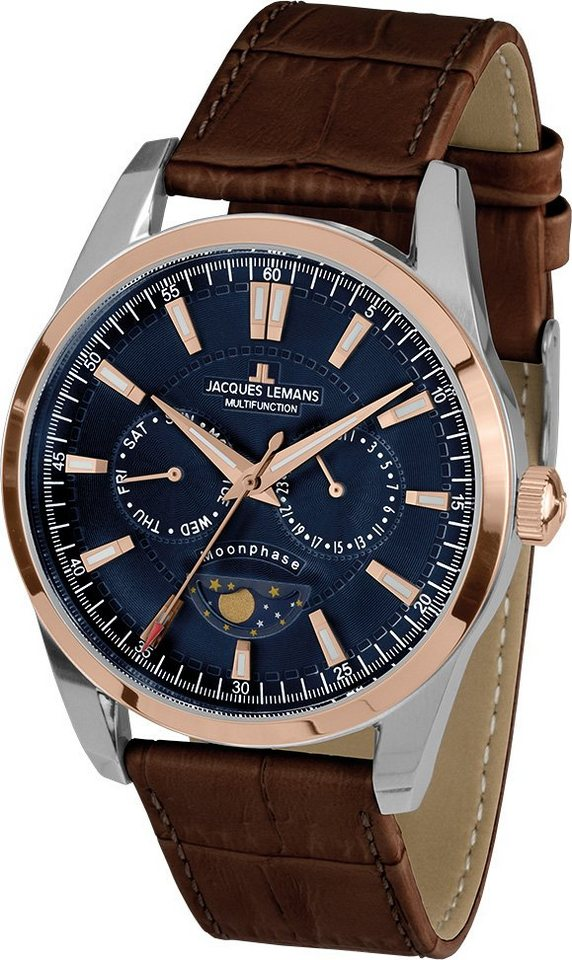 Jacques Lemans Sports Multifunktionsuhr, »Liverpool Moonphase, 1-1901D« in braun