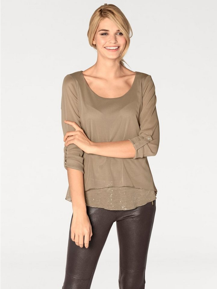 Paillettenshirt in beige