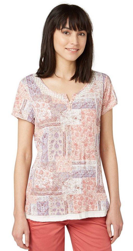 TOM TAILOR T-Shirt »Print-Shirt mit Crinkles« in whisper white