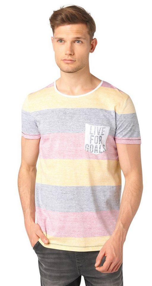 TOM TAILOR DENIM T-Shirt »cooles Em-Shirt mit Streifen« in black