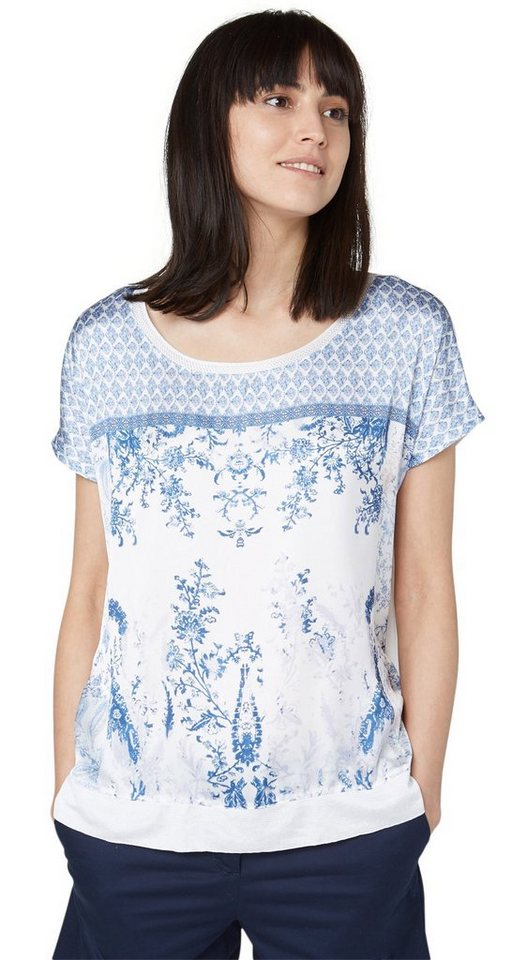 TOM TAILOR T-Shirt »trendy print mix shirt« in whisper white