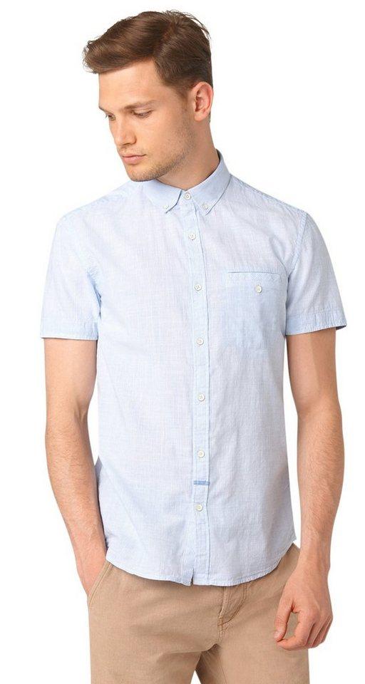 TOM TAILOR DENIM Hemd »ministripe short sleeve shirt« in light blue