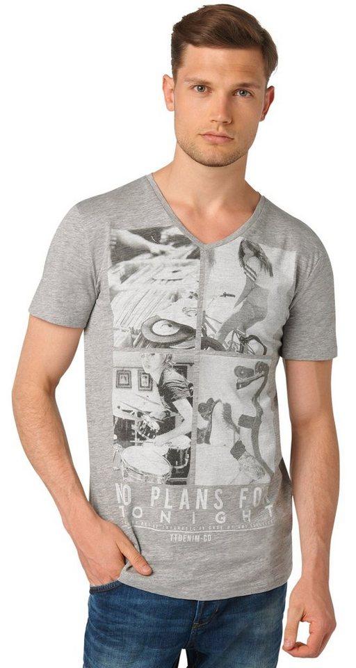 TOM TAILOR DENIM T-Shirt »V-Neck T-Shirt mit Foto-Print« in melange