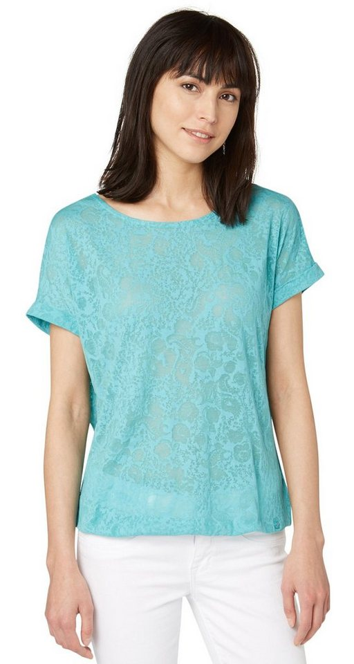 TOM TAILOR T-Shirt »lovely shirt with lace insert« in Pool Turquoise