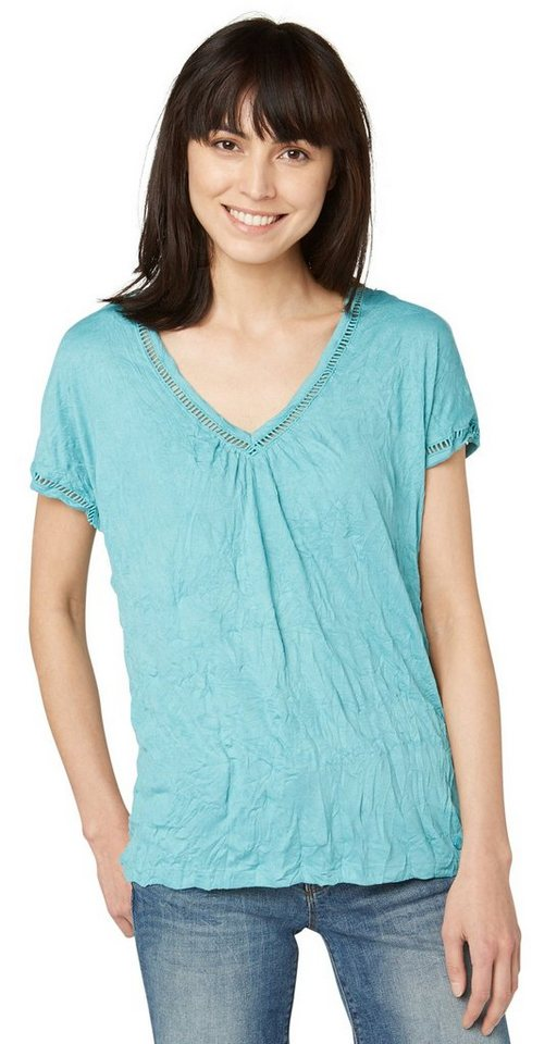 TOM TAILOR T-Shirt »V-Ausschnitt T-Shirt mit Crinkles« in Pool Turquoise