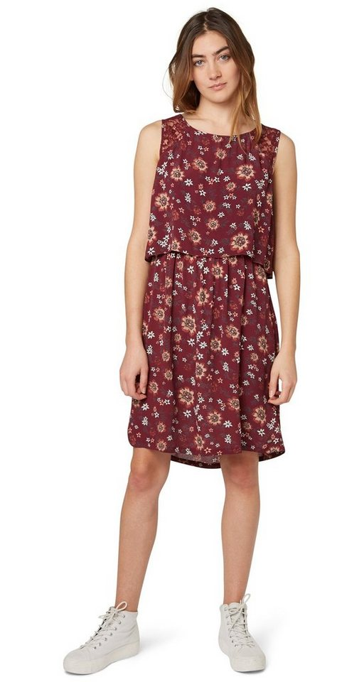 TOM TAILOR DENIM Kleid »Crêpe-Kleid mit floralem Muster« in tawny port red