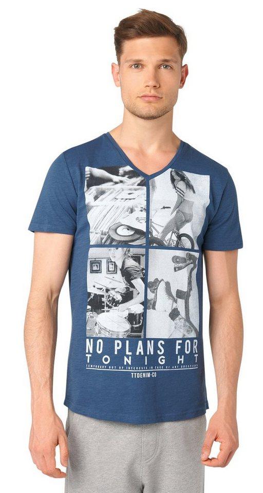 TOM TAILOR DENIM T-Shirt »v-neck with photoprint« in dark duck blue