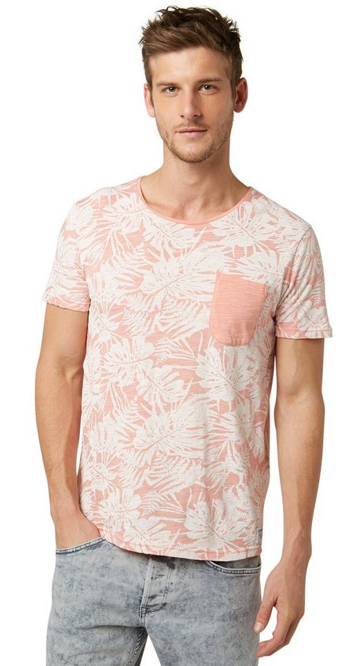 TOM TAILOR DENIM T-Shirt »T-Shirt mit Tropical-Print« in dusty salmon red