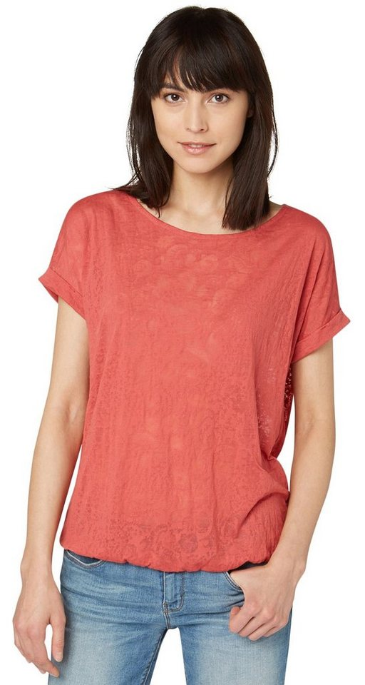 TOM TAILOR T-Shirt »T-Shirt mit Spitzen-Detail« in terracotta red
