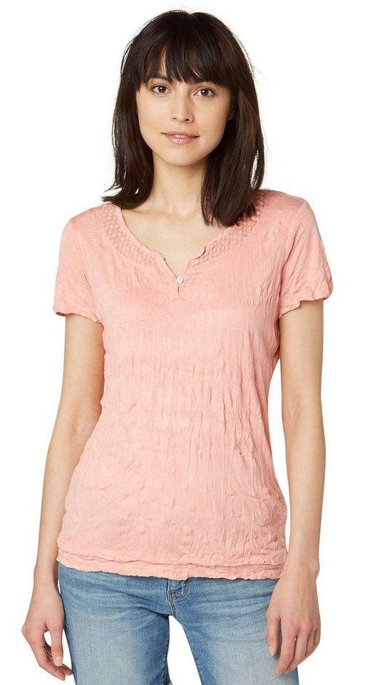 TOM TAILOR T-Shirt »crinkle basic« in dusty salmon red