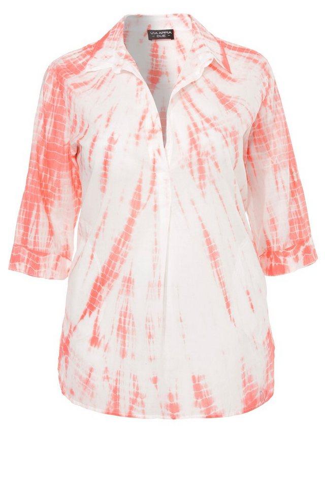 VIA APPIA DUE Extralange Sommer-Bluse in A-Form »Happy Batik« in KOKOS / ROT