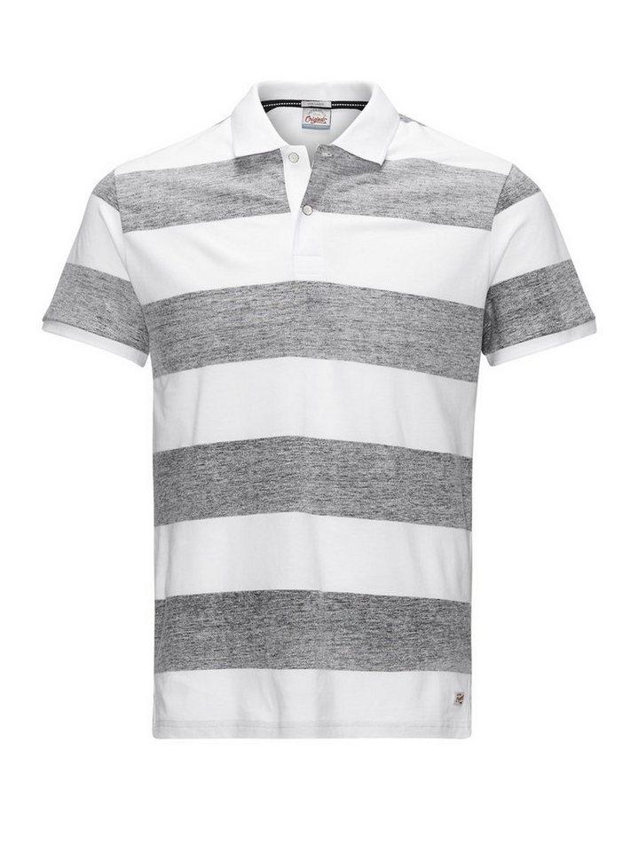Jack & Jones Umgekehrt gestreiftes Poloshirt in Black
