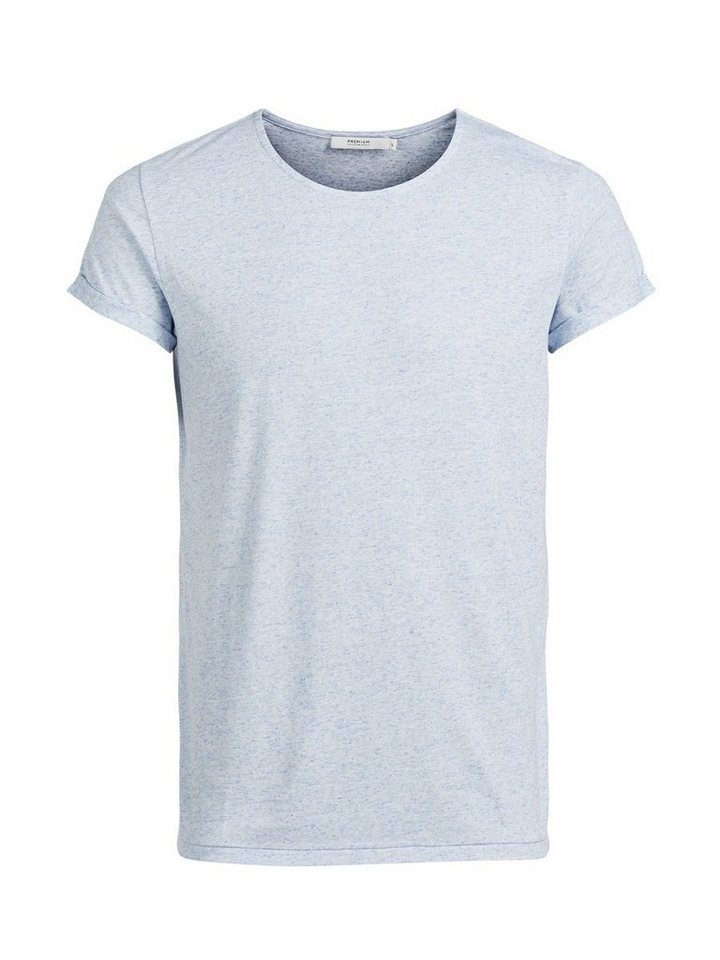 Jack & Jones Leinenmischfaser- T-Shirt in Light Blue Denim
