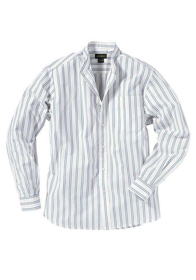 Eddie Bauer Stehkragenhemd gestreift in Weiß/Blau gestreift