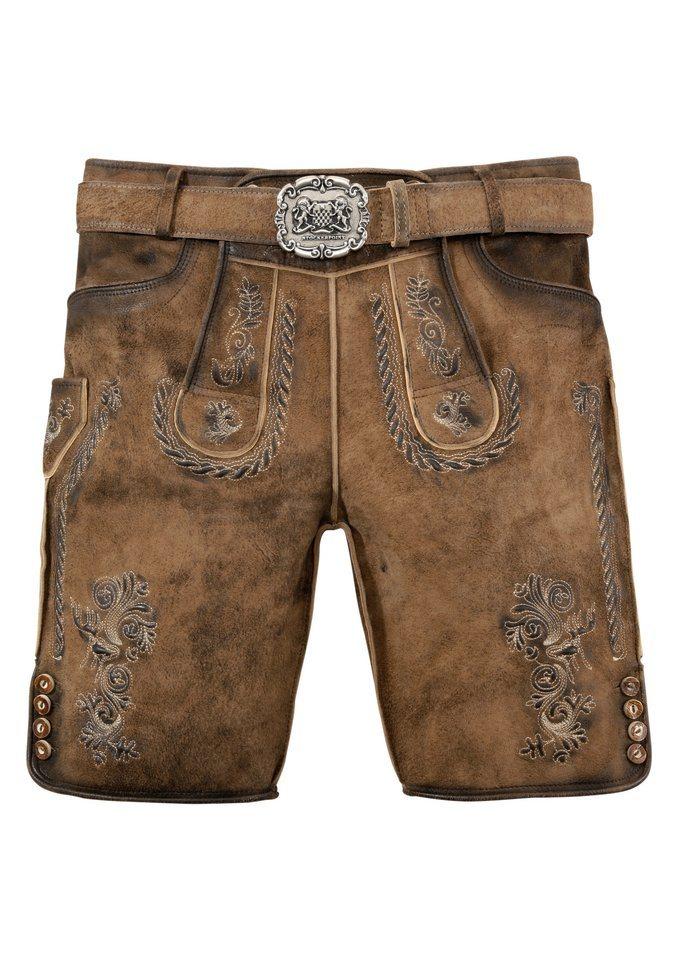 Stockerpoint Trachtenlederhose (2-tlg., mit Gürtel) mit Stickerei   Bekleidung > Hosen > Lederhosen   Braun   Stockerpoint