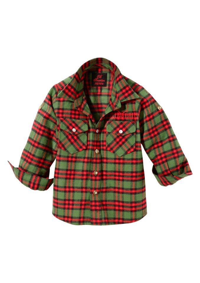 Trachtenhemd Kinder kariert mit Stickerei, OS-Trachten in grün/rot