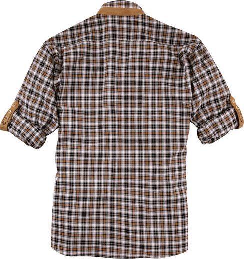 Trachtenhemd mit Lederimitat-Appliaktion, OS-Trachten