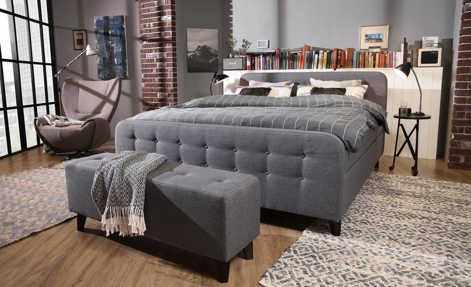 tom tailor boxspringbett nordic box mit knopfheftung im. Black Bedroom Furniture Sets. Home Design Ideas