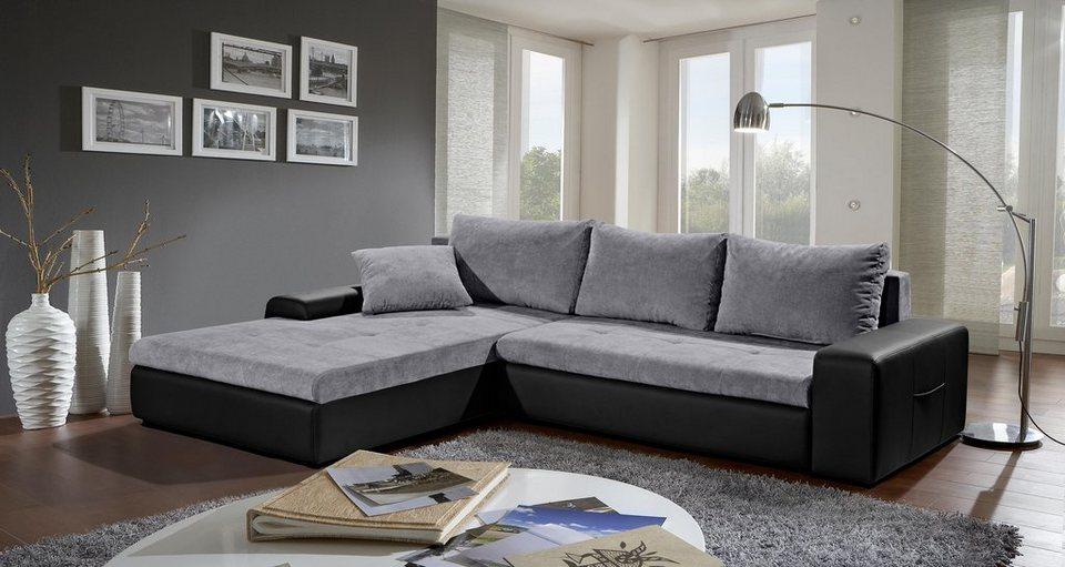 Sofa-Team Polsterecke mit Bettfunktion in schwarz/silber