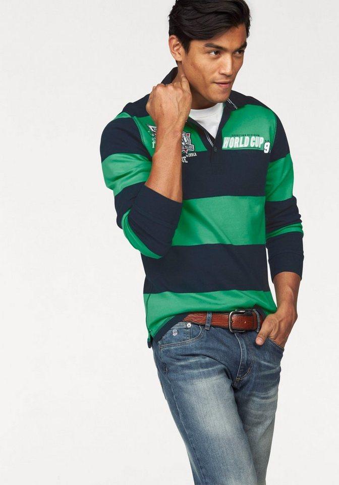 Rhode Island Poloshirt in marine-grün-gestreift