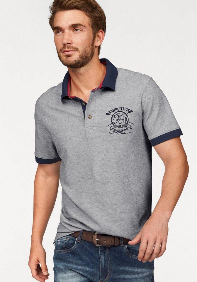 Rhode Island Poloshirt »Piqué Qualität« in hellgrau-meliert