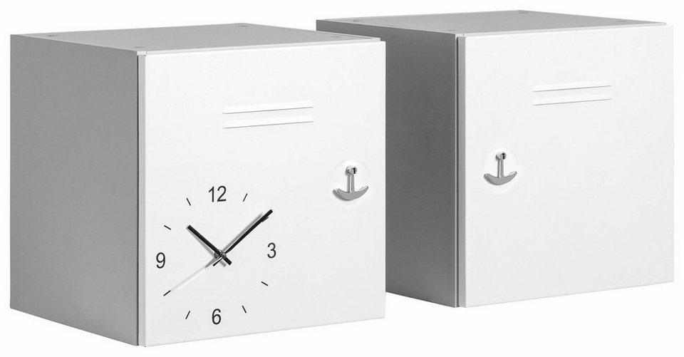 Maja Möbel Würfel-Einsatz »Rocks« (2er-Set), Front aus Metall mit Uhr in grau/weiß