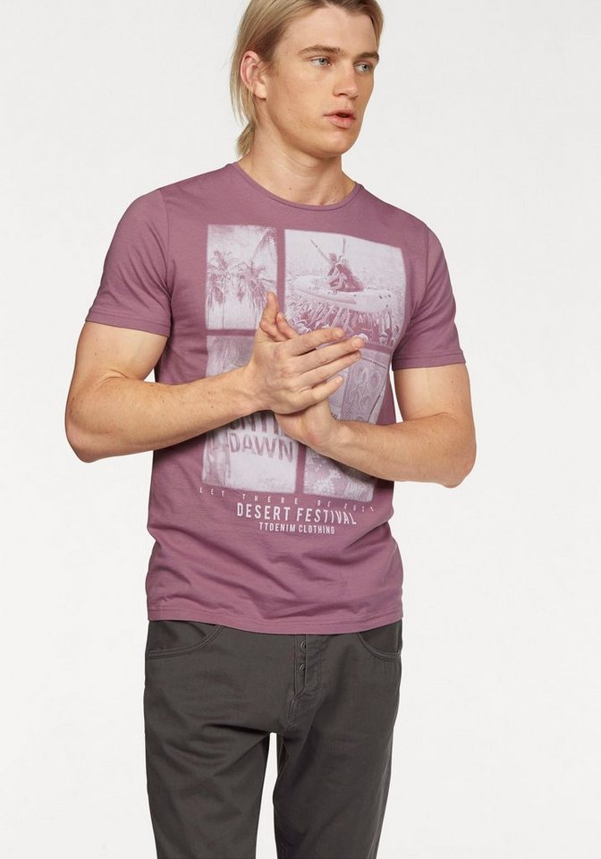 Tom Tailor Denim T-Shirt mit modischem Festival-Print in mauve