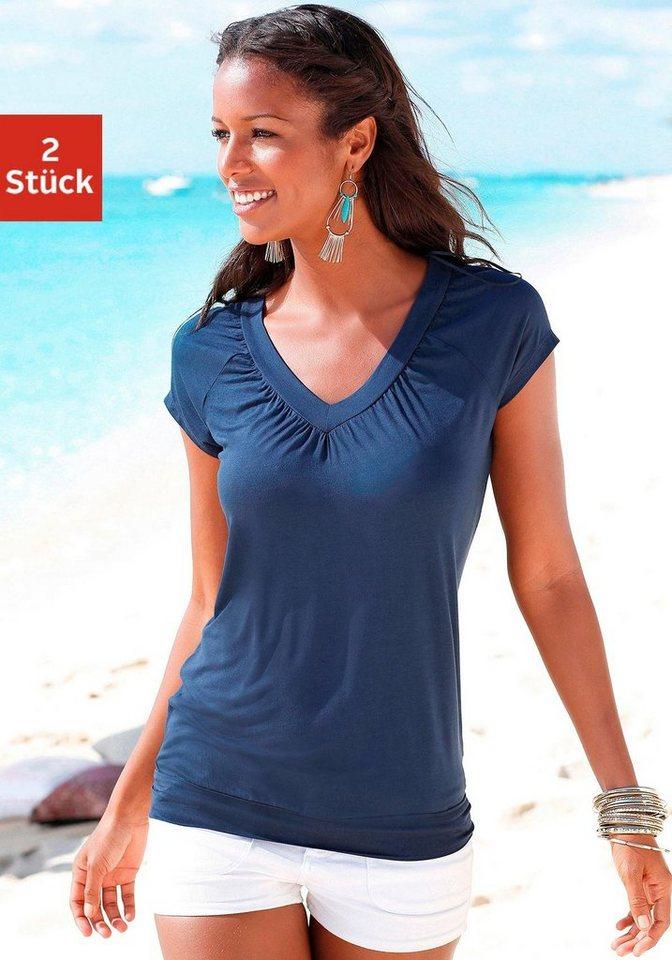 LASCANA V-Shirt mit breitem Bund (2 Stück) in koralle + marine
