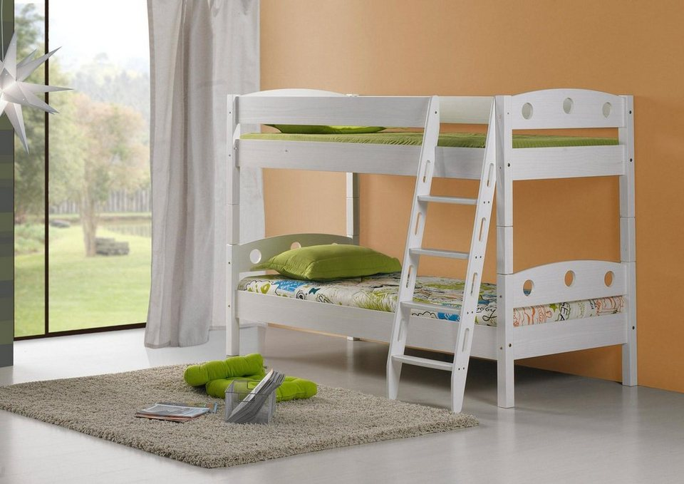 Ticaa Einzel-/Etagenbett, Kiefer »Tori« in Kiefer weiß