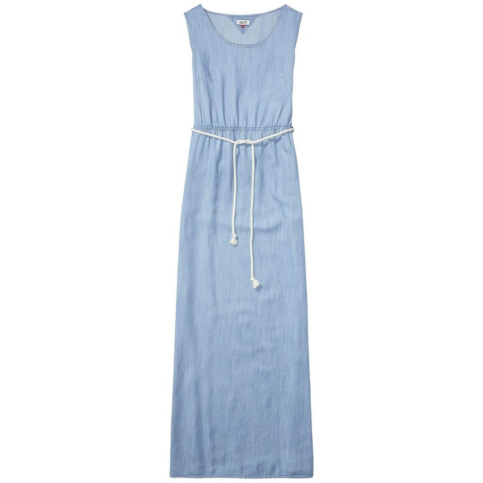 Hilfiger Denim Kleider »Drapey long dress DRIL« in DRAPEY INDIGO LIGHT