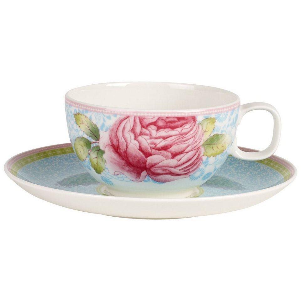 VILLEROY & BOCH Teetasse mit Untertasse 2tlg. - bla »Rose Cottage« in Dekoriert