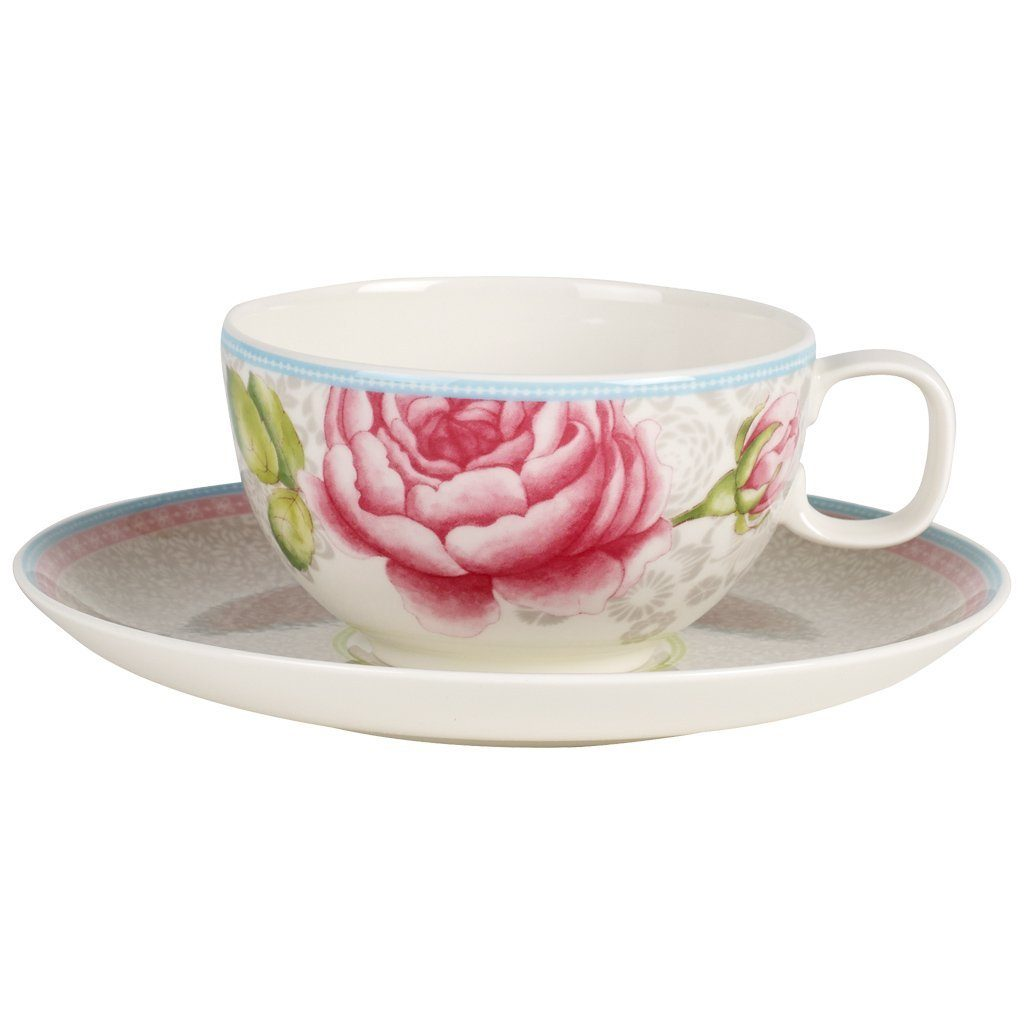 Villeroy & Boch Teetasse mit Untertasse 2tlg. - gra »Rose Cottage«