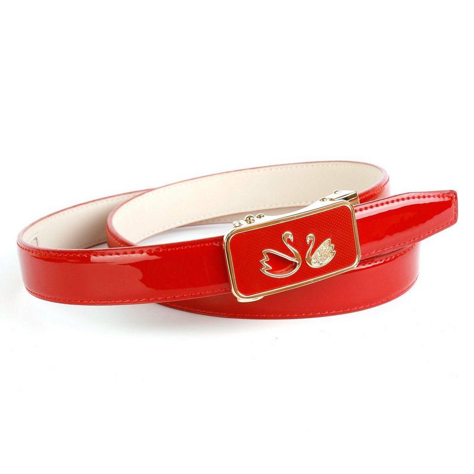Anthoni Crown Lackledergürtel für verliebte Herzen in Rot