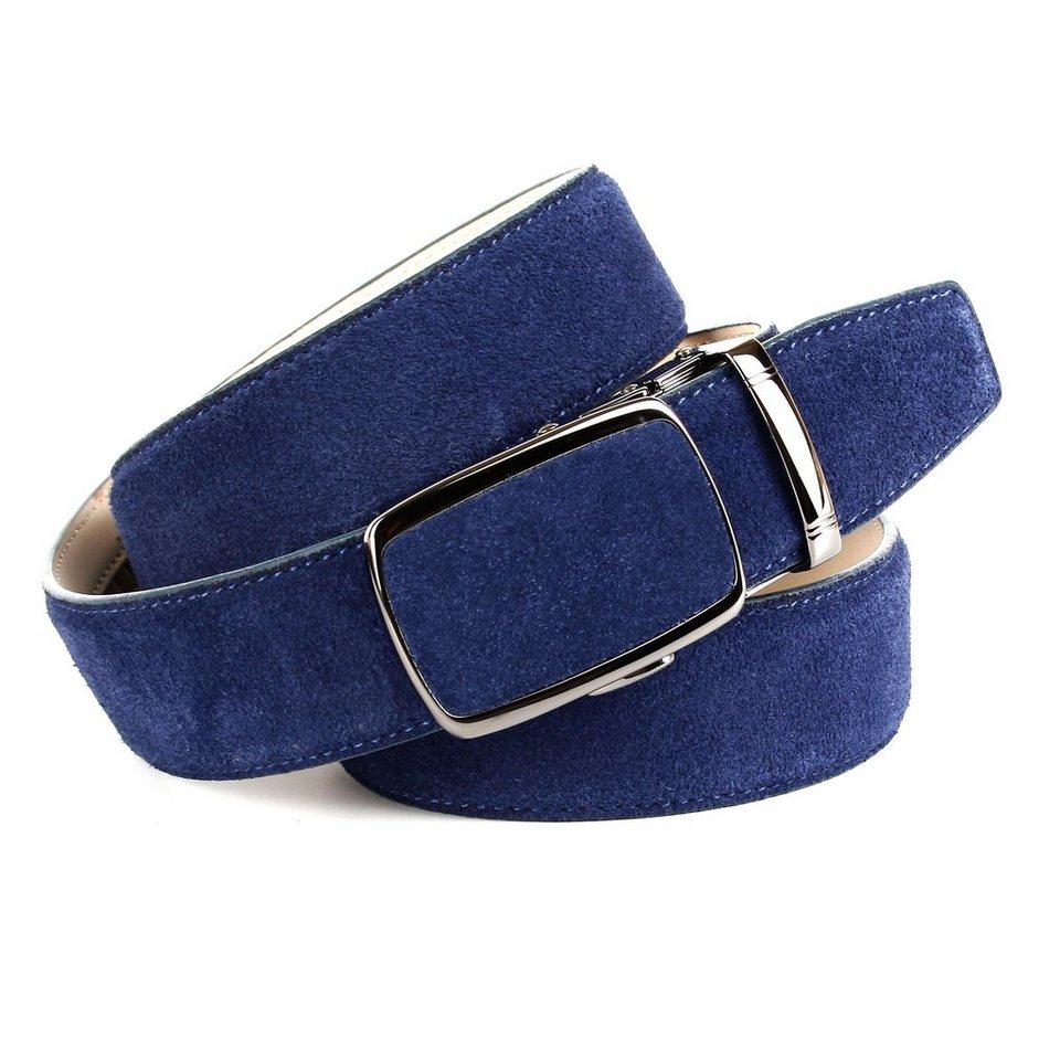 Anthoni Crown Ledergürtel Veloursleder in Blau