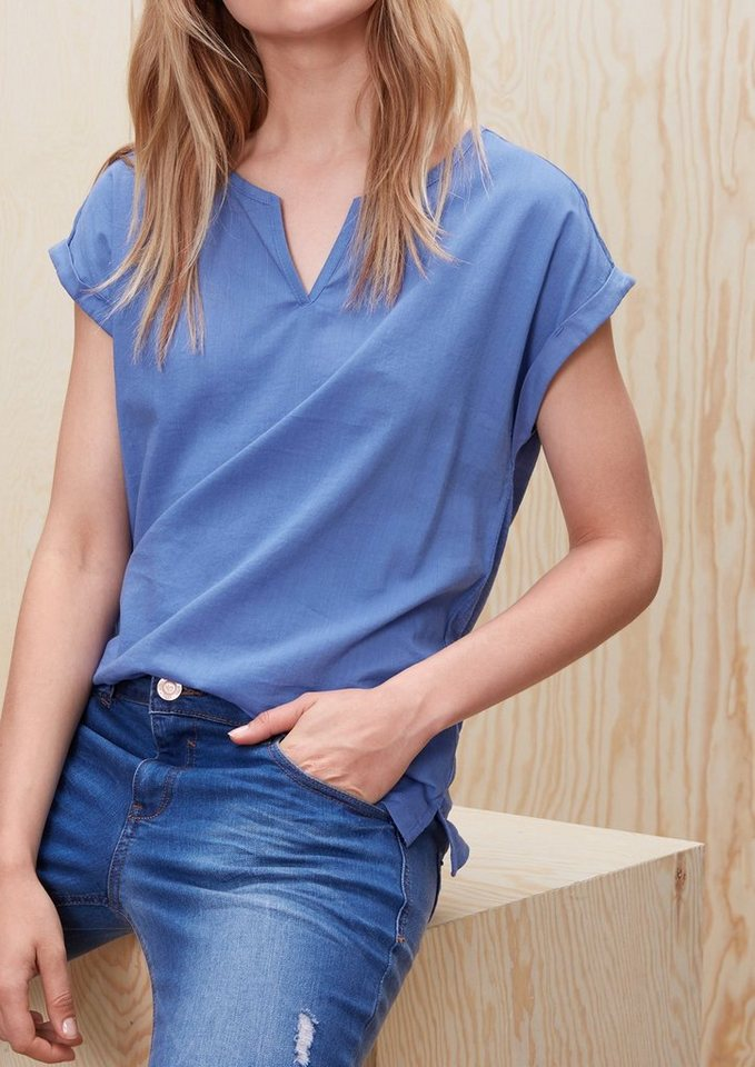 s.Oliver RED LABEL Blusenshirt im Materialmix in washed blue