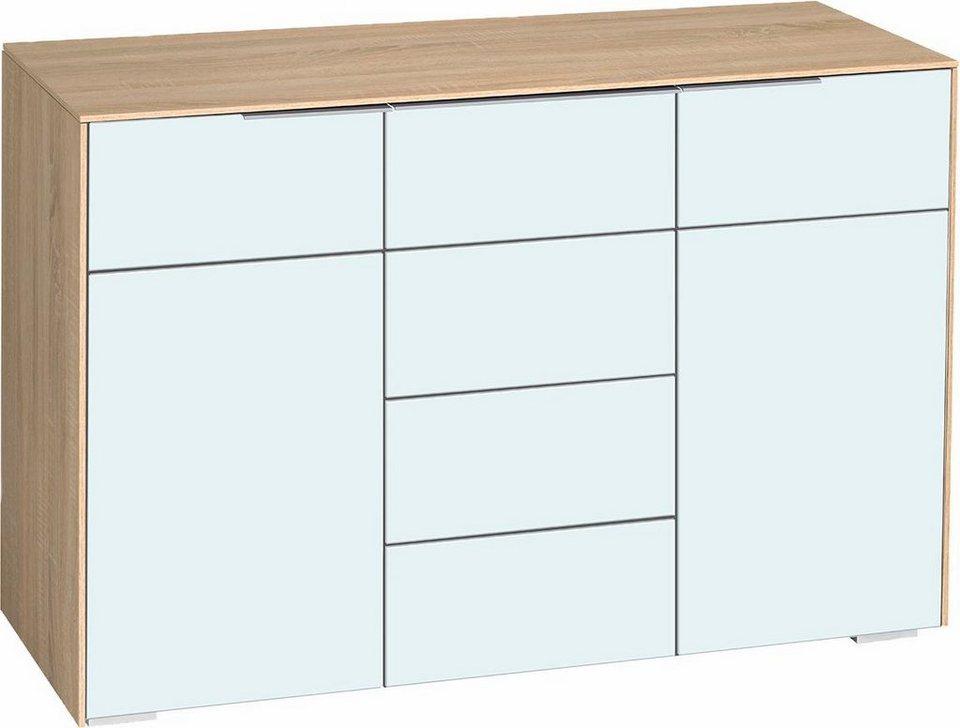 Maja-Möbel »Best7204« Kommode, Breite 120, 5 cm in eichefb./Weißglas matt