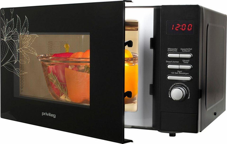 Privileg Mikrowelle, mit Grill, 23 Liter Garraum, 800 Watt in schwarz