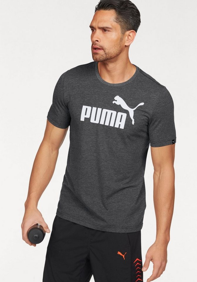 PUMA T-Shirt »ESS No.1 Logo Heather Tee« in schwarz